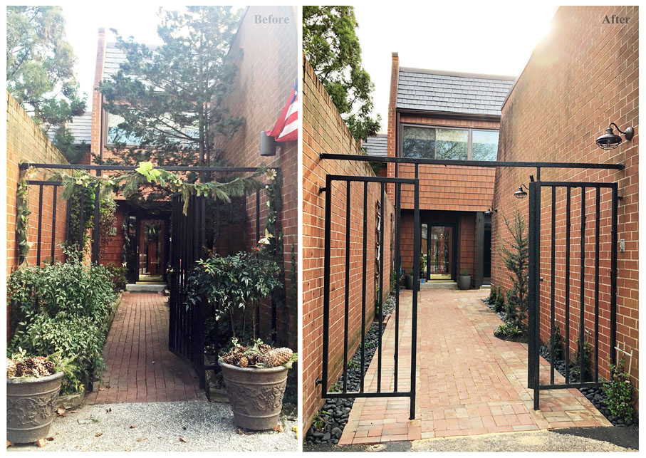 image of landscaping courtyard before and after in baltimore